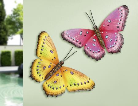 Set decoratiune de perete 2 fluturi, metal, roz/galben, 33x23x2 cm0