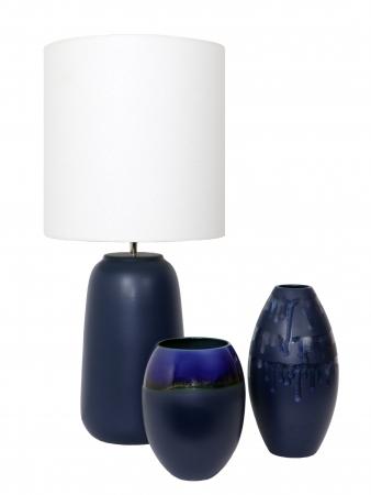 Set 1 Lampa cu 2 vaze HORY, ceramica, albastru, 35/23.5/30 cm0