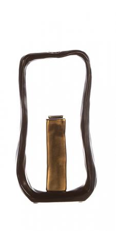 Set Vaza cu Suport lumanare KADOMA, ceramica, negru, 31/14.5 cm2