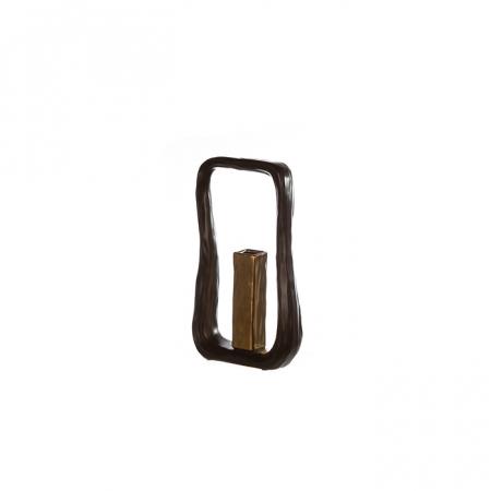 Set Vaza cu Suport lumanare KADOMA, ceramica, negru, 31/14.5 cm3