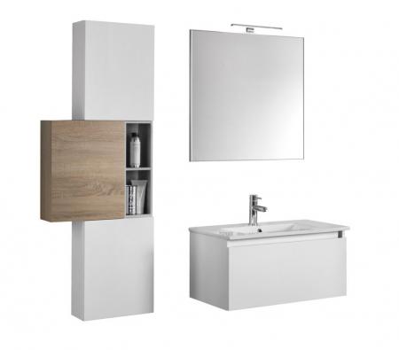 Set mobilier pentru baie 8 piese PERTH, Melamina/Aluminiu/Abs/Sticla/Ceramica/Metal, Alb/Maro deschis, 131x46.5x190 cm1