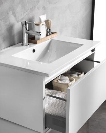 Set mobilier pentru baie 8 piese PERTH, Melamina/Aluminiu/Abs/Sticla/Ceramica/Metal, Alb/Maro deschis, 131x46.5x190 cm2