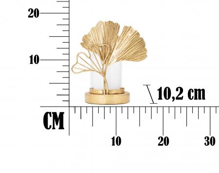 Sfesnic Leaf, Metal/Sticla, Auriu/Alb, 17X10.2X18.2 cm , Mauro Ferretti [6]