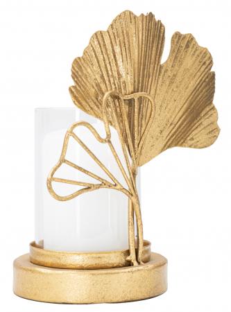 Sfesnic Leaf, Metal/Sticla, Auriu/Alb, 17X10.2X18.2 cm , Mauro Ferretti [4]