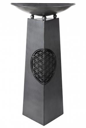 Suport flori Flower, metal, negru, 58x117x29 cm1