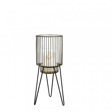 Suport lumanare DIVERSITY, metal/sticla, 38x14 cm