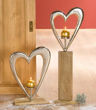 Suport lumanare HEART, aluminiu/mango, 38x10x52 cm1