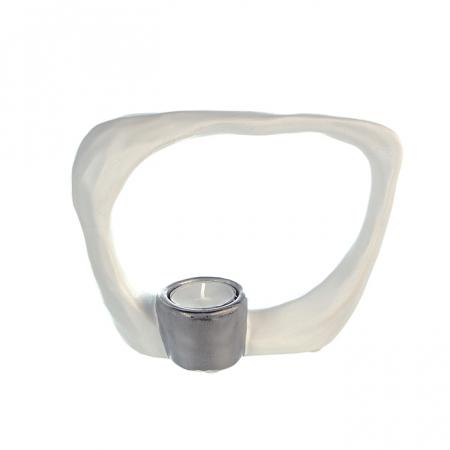 Suport lumanare KADOMA, ceramica, alb/argintiu, 14.5x20 cm