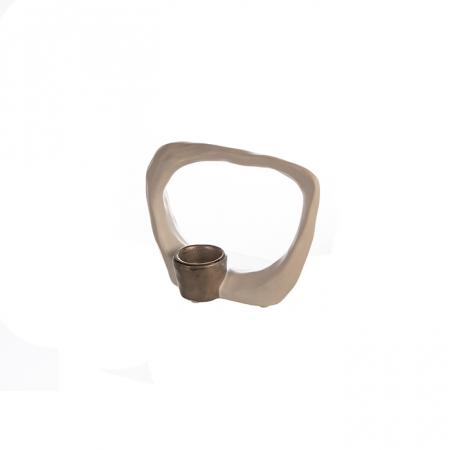Suport lumanare KADOMA, ceramica, alb/argintiu, 14.5x20 cm2