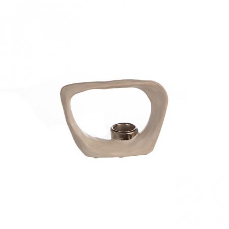 Suport lumanare KADOMA, ceramica, alb/argintiu, 14.5x20 cm3