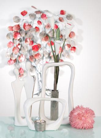 Suport lumanare KADOMA, ceramica, alb/argintiu, 14.5x20 cm4