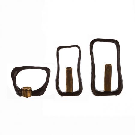 Suport lumanare KADOMA, ceramica, maro/auriu, 14.5x20 cm1