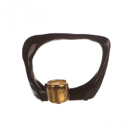 Suport lumanare KADOMA, ceramica, maro/auriu, 14.5x20 cm