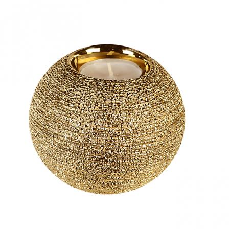 Suport lumanare Miro, ceramica, auriu, 8x10 cm0
