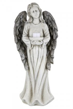 Suport lumanare pastila ANGEL cu lumanare LED, rasina, 15.5x22x49.5 cm1