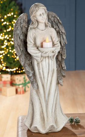 Suport lumanare pastila ANGEL cu lumanare LED, rasina, 15.5x22x49.5 cm0