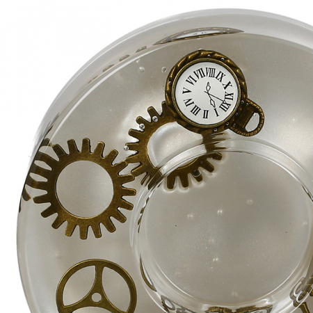Suport lumanare TIME, sticla, 15x5 cm2