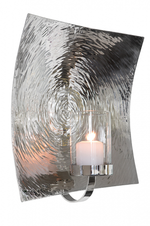Suport lumanare de perete TOBAGO, otel inoxidabil/sticla, 39x20x39 cm [0]