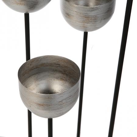 Suport flori Quattro, metalic, argintiu/negru, 97x36x36 cm4
