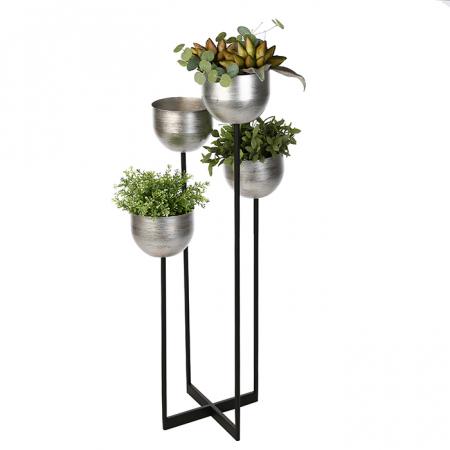 Suport flori Quattro, metalic, argintiu/negru, 97x36x36 cm0