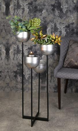Suport flori Quattro, metalic, argintiu/negru, 97x36x36 cm2