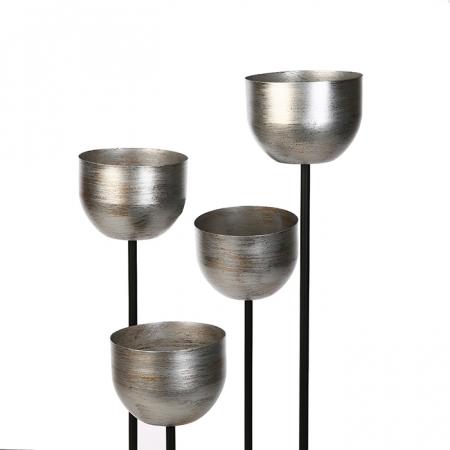 Suport flori Quattro, metalic, argintiu/negru, 97x36x36 cm3