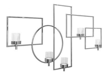 Suport 5 lumanari ESCALA, metal/sticla, 125x65 cm0