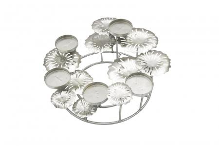 Suport pentru lumanare ROUND-PLUS, argintiu,  (cm) 37,5X37,5X174
