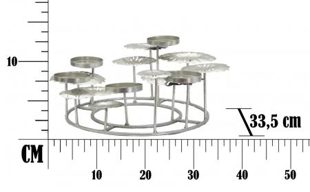Suport pentru lumanare ROUND-PLUS, argintiu,  (cm) 37,5X37,5X177