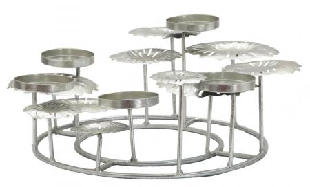 Suport pentru lumanare ROUND-PLUS, argintiu,  (cm) 37,5X37,5X170