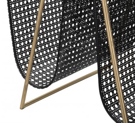 Suport pentru reviste dublu, fier, negru/uriu, 31X40X42.5 cm6