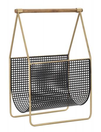 Suport pentru reviste Fashion, lemn/fier, negru/uriu, 37X23X54.5 cm1