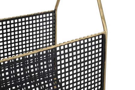 Suport pentru reviste Fashion, lemn/fier, negru/uriu, 37X23X54.5 cm5