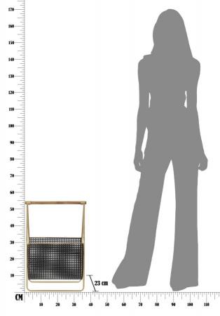 Suport pentru reviste Fashion, lemn/fier, negru/uriu, 37X23X54.5 cm7