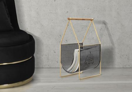 Suport pentru reviste Fashion, lemn/fier, negru/uriu, 37X23X54.5 cm0