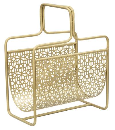 Suport pentru reviste Glam, fier, auriu,  37X22X44.5 cm0