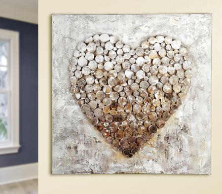Tablou HEART, panza, 80x80x3.5 cm0