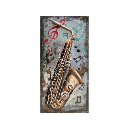 Tablou metal 3D Saxophone 40 x 800
