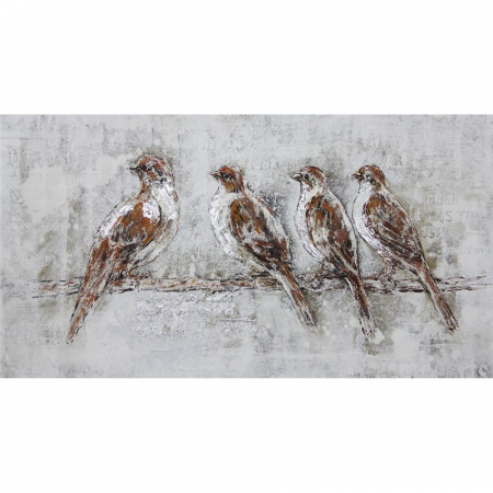 Tablou pictat manual 4 birds 140x70 cm0