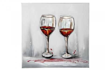 Tablou pictat manual WINE, panza, 60x60x3 cm1