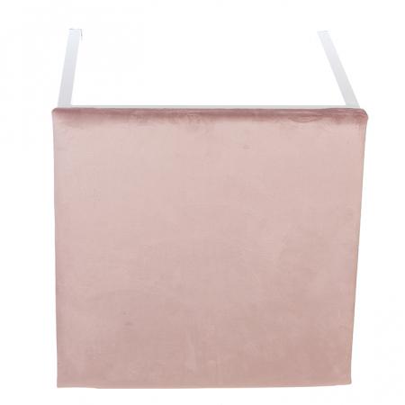 Taburet COSY, metal/textil, alb/roz 52x43x43 cm2