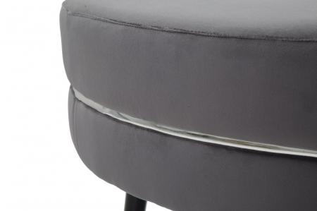 Taburet Paris XXL, lemn de pin/metal/plastic/burete/poliester, gri/negru, 90X46 cm4