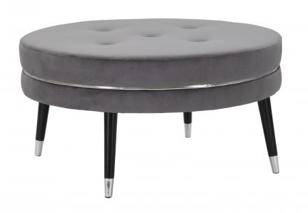 Taburet Paris XXL, lemn de pin/metal/plastic/burete/poliester, gri/negru, 90X46 cm1