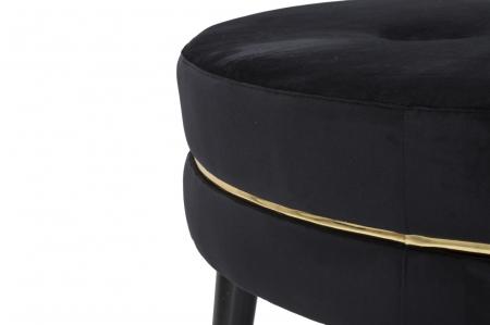 Taburet Paris XXL, lemn de pin/metal/plastic/burete/poliester, negru/auriu, 90X46 cm5