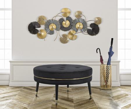 Taburet Paris XXL, lemn de pin/metal/plastic/burete/poliester, negru/auriu, 90X46 cm0