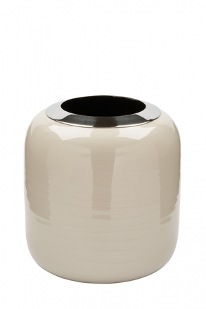 Vaza DIPA, otel inoxidabil/email, crem, 19x18 cm0