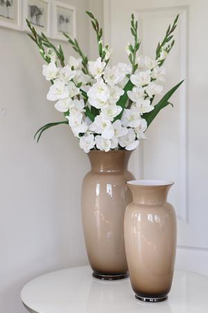 Vaza HERA, sticla, bej/gri, 40x18.5 cm0