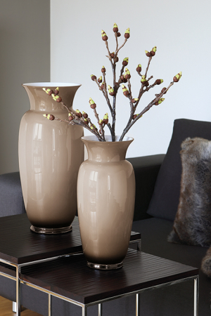 Vaza HERA, sticla, bej/gri, 40x18.5 cm2