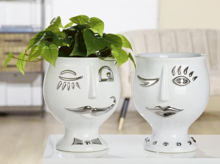 Vaza Lady Face, ceramica, alb/argintiu, 21x24x21 cm0