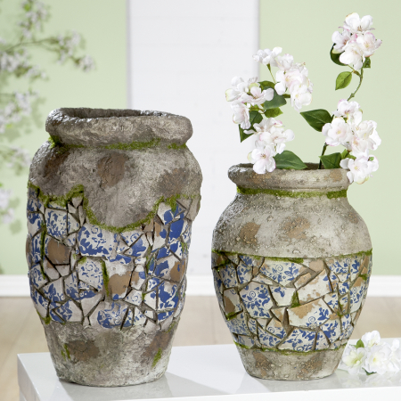 Vaza Mosaic, compozit, gri, 32x25 cm1